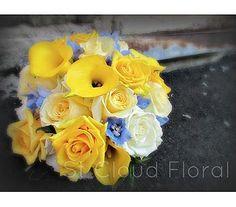 Yellow, white & blue