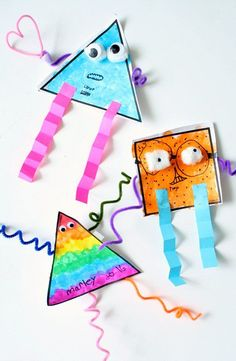 A great way to work on shapes while making art: Shape Monsters! Fun craft for preschoolers!