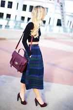 Eddie Bauer Long Plaid Wrap Skirt Wool, Size 6, Green, Vintage