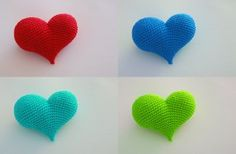 Corazón Amigurumi a Crochet - Patrón Gratis en Español - Versión en PDF - Click en la imágen de los corazones para su descarga aquí: http://hastaelmonyo.com/?p=2487  - Free English Pattern here: http://www.ravelry.com/patterns/library/pop-heart