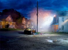 Contemporary Photography: Gregory Crewdson Long depth of field, emphasizing the colours and contrasts within lights and rustic features of the traditional wooden homes. Contemporary Photography, Artistic Photography, Night Photography, Fine Art Photography, Street Photography, Narrative Photography, Cinematic Photography, Gregory Crewdson Photography, Nocturne