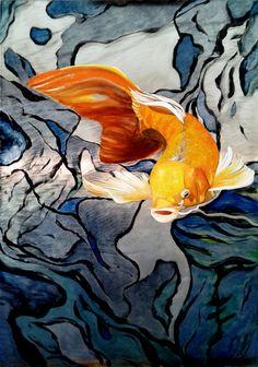 Koi fish on metal aluminum print 'Swimming Through by Art2walls, $79.00