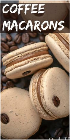 Coffee Macaron Recipe is a combination of a creamy coffee flavored white cho. - Coffee MacarYou can find Macaroons and more on our website.Coffee Macaron Recipe is a combination of a creamy coffee flavored whit. Smores Dessert, Coffee Dessert, Dessert Tables, Coffee Macaron, French Macaroon Recipes, French Macaron Filling, Macaroon Filling, French Desserts, Macaron Caramel