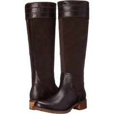 Timberland Bethel Heights Medium Shaft Tall Boot (Dark Brown... ($120) ❤ liked on Polyvore featuring shoes, boots, brown, knee-high boots, brown boots, high boots, suede knee-high boots, wide knee high boots and brown high boots