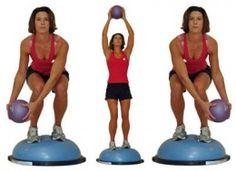 Balance Ball Exercises on Blue Bosu - Medicine Ball