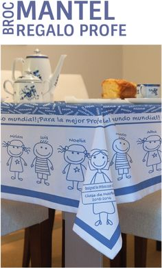 No hace falta que nos envies los dibujos de sus niños, tan solo con que indiques sus nombres, MrBroc diseñará un mantel personalizado para el profe. Un regalo espectacular, único y muy emotivo. www.mrbroc.com