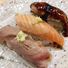 """Sushi Kozan"" Geneva Switzerland (Aburi Toro Salmon and Eel) #sushi #food #foodporn #japanese #Japan #dinner #sashimi #yummy #foodie #lunch #yum"