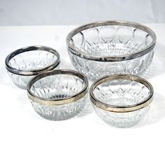 Set of 4 Vintage Glass Bowls with Silver Band. $25.00, via Etsy.