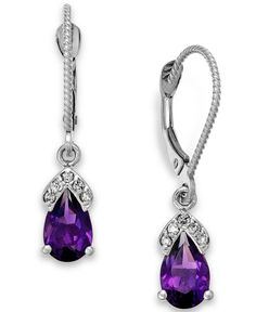 Amethyst (1-3/4 ct. t.w.) and Diamond Accent Earrings in 14k White Gold