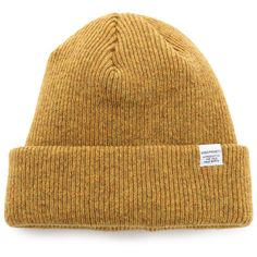 Norse Projects Norse Beanie Hat (1 365 UAH) ❤ liked on Polyvore featuring men's fashion, men's accessories, men's hats, mustard yellow and mens beanie hats