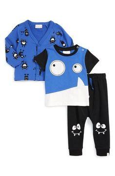 'Monster' T-Shirt, Cardigan & Pants Set (Baby Boys)
