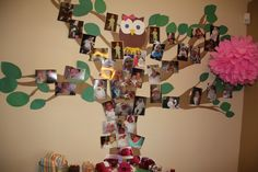Tree of life starting with the day she was born up until her first birthday at the top. Made out of shipping paper and construction paper.