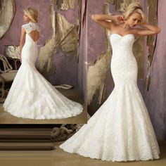 $165 2013 New Lace Mermaid Wedding Dress Fishtail Bridal Wedding Gown Custom Made | eBay