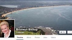 Bronwyn Bishop's Facebook cover photo. That's not to say the aerial shot of the Speaker's leafy Northern Beaches electorate doesn't make for a lovely photo. But it probably isn't the finest choice for a politician who is in hot water