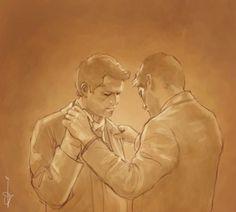Dean teaching Cas how to dance.