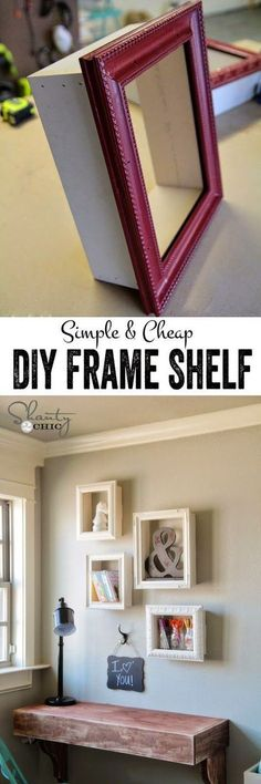 Learn how to make these cute and simple DIY frame shelves! Such a great way to reuse old frames or to dress up frames.: