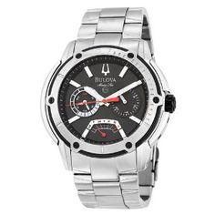 Bulova Men's 98C105 Marine Star Black Dial Bracelet Watch