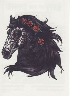 ✭ Day of The Dead Horse Roses Temporary Tattoo ✭ Made in The USA ✭ | eBay