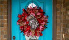 Deco Mesh Valentine Wreath, Burlap Valentine Wreath, Deco Mesh Heart Wreath, Valentines Day Wreath, Valentine Heart Wreath, You Are So Loved by KenziesAdoornments on Etsy