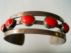 Vintage Mexico Sterling Cuff Bracelet with Coral by LakeBreezes, $78.00