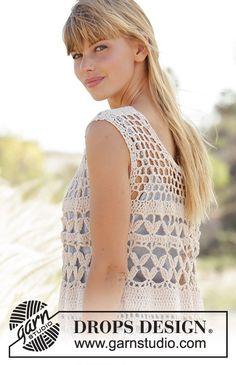 T-shirt Au Crochet, Pull Crochet, Crochet Vest Pattern, Crochet Cardigan Pattern, Crochet Woman, Crochet Blouse, Crochet Patterns, Magazine Drops, Drops Design