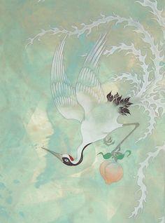 Japanese crane. (lovely colours)