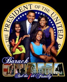 President Barack Hussein Obama (born 1961) and the First Family. Obama became the 44th & current President of the United States in January 2009. He is the first African American to hold the office.