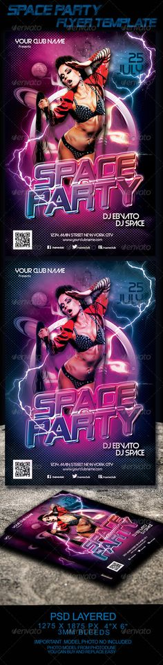 """Space Party Flyer Template  #GraphicRiver         Sexy and futuristic Flyer Template. Great for disco, night club or any music event.   PRINT READY - CMYK - 4 in x 6 in (pixels: 1275×1875 ) - 0,25"""" Bleeds - 300 dpi - Bleed, Cut, Safe Guides   FONTS:  Free Font Battlestar img.dafont /dl/?f=battlestar Free Font  Venus Rising de Typodermic Fonts img.dafont /dl/?f=venus_rising Free Font Electronic Highway Sign de Ash Pikachu Font img.dafont /dl/?f=electronic_highway_sign Free Font Big Noodle…"""