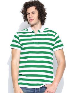 Dream of Glory Inc. White & Green Striped Polo T-shirt