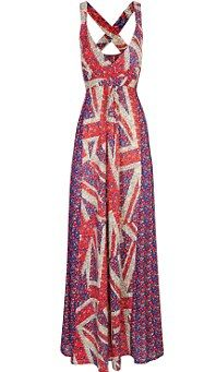 Union jack flag maxi dress
