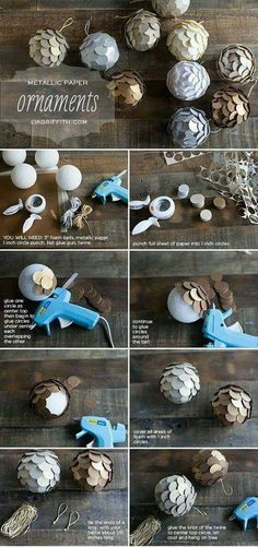 Ideas diy paper ornaments christmas holidays for 2019 Noel Christmas, Diy Christmas Ornaments, Christmas Balls, Homemade Christmas, Elegant Christmas, Christmas Paper, Rustic Christmas, Beautiful Christmas, Christmas Projects