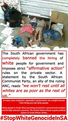 One-million of Afrikaner whites are destitute, starving in SA . White Genocide in South Africa. obama, piece of racist shit he is, should be helping THESE immigrants! Out Of Touch, Persecution, Bad News, One In A Million, South Africa, Current Events, Wake Up, Told You So, Politics