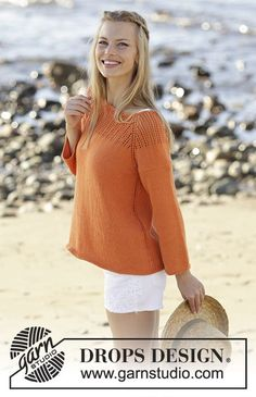 Orange Dream - Jumper knitted top down with raglan, lace pattern on yoke, ¾ sleeves and A-shape in DROPS Safran. Size: S - XXXL - Free pattern by DROPS Design Drops Design, Knitting Designs, Knitting Patterns Free, Free Knitting, Crochet Girls, Knit Crochet, Drops Patterns, Orange Sweaters, Summer Sweaters