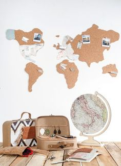 Holzplatte Globus (25,5 x 31 cm)