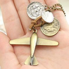 Antique Airplane Coin Pendant Necklace Pilot Wife, Coin Pendant Necklace, Buy Jewellery Online, Crown Jewels, Pandora Bracelets, Ring Bracelet, Hamsa, Personalized Items, Antiques