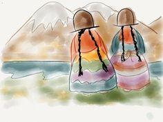 Cholitacholitas s -Bolivia Sucre Bolivia, Peruvian Art, Latino Art, Watercolor Sketch, Mexican Folk Art, Drawing For Kids, Cute Art, Art Projects, Art Drawings