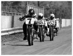 Mert Lawwill #7 leading rookie expert Jay Springsteen #65x and Corky Keener #62