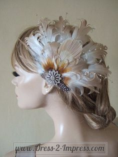 """Bridal Curled Ivory & Gold Nagoire Peacock Feathers and Crystal Brooch Fascinator """"Fallon"""" – Fairytale Rustic Boho Wedding Brides – Augen Make Up Gold Feathers, Peacock Feathers, Gold Fascinator, Flapper Headpiece, How To Make Fascinators, Royal Ascot Races, Rustic Boho Wedding, Gold Bridesmaids, Crystal Brooch"""