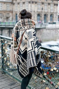winter is up aztec print shawl collar wrap cardigan sweater | tribal print large scarf | pont des arts | paris | seine