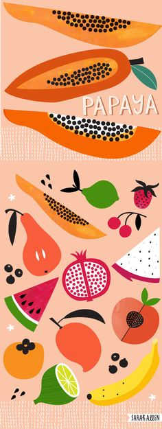 Papaya and tropical fruit. Food illustration Sarah Allen Illustration