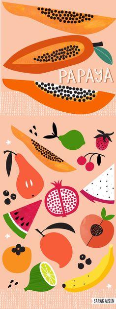 Papaya and tropical fruit.  Food illustration Sarah Allen Illustration