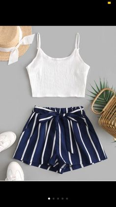 Crop Cami Top And Striped Belted Shorts Set - Deep Blue M fall fashion trends Work,fall fashion trends Outfits,fall fashion trends Women's,fall fashion trends Latest,fall fashion Cute Casual Outfits, Short Outfits, Pretty Outfits, Stylish Outfits, Short Dresses, Cute Girl Outfits, Girls Fashion Clothes, Summer Fashion Outfits, Clothes For Women