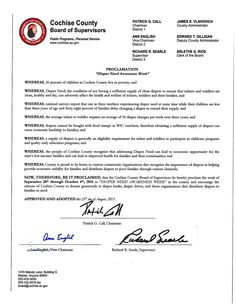 Cochise County, AZ - Board of Supervisors' proclamation recognizing Diaper Need Awareness Week (Sept. 28 - Oct. 4, 2015) www.diaperneed.org #DiaperNeed
