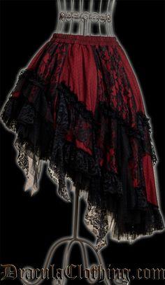 Gothy / Steampunky Fashion - Black & Red Skirt