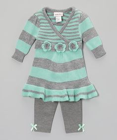 Take a look at this Seafoam Stripe Tunic & Leggings - Infant, Toddler & Girls by Little Lass on #zulily today!