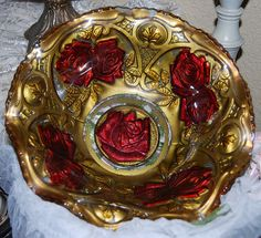 Goofus Glass Red Rose Bowl