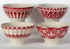 Vintage French country cafe au lait bowls, red on cream.