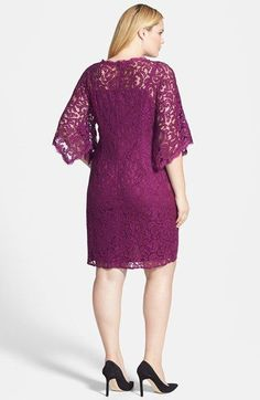 Adrianna Papell Kimono Sleeve Lace Sheath Dress (Plus Size) Modest Dresses, Simple Dresses, Plus Size Dresses, Elegant Dresses, Beautiful Dresses, Lace Dress Styles, Short Lace Dress, Lace Sheath Dress, Dress Brokat