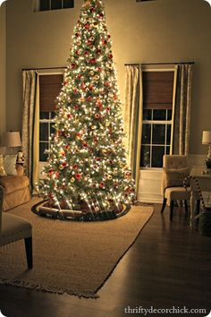 12ft christmas tree with the red and gold we love. Traditional Christmas and totally funky upstairs!