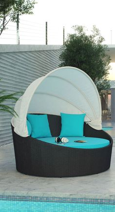 Turquoise Outdoor Canopy Bed